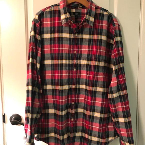 J. CREW Men's Plaid Red/Green Long Slve Shirt, XL